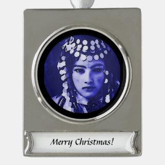 Romanian Gypsy in Blue Headdress Silver Plated Banner Ornament