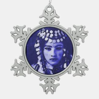 Romanian Gypsy in Blue Headdress Snowflake Pewter Christmas Ornament