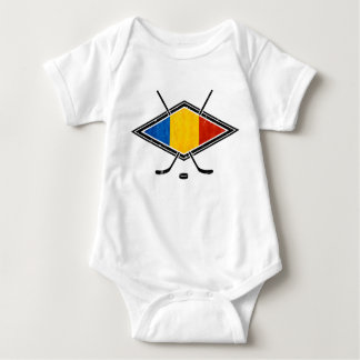 Romanian Ice Hockey Flag Baby Bodysuit