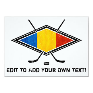 Romanian Ice Hockey Flag 5x7 Paper Invitation Card