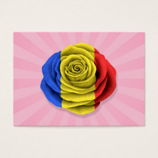 Romanian Rose Flag on Pink Business Card
