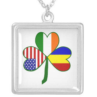 Romanian Shamrock Silver Plated Necklace