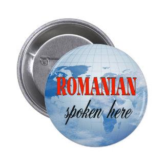 Romanian spoken here cloudy earth pinback button