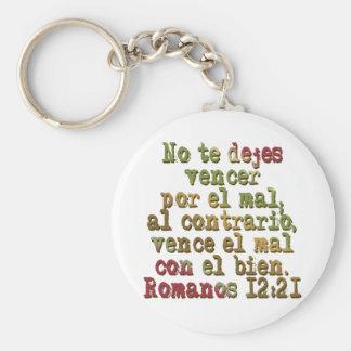 Romanos 12:21 basic round button keychain