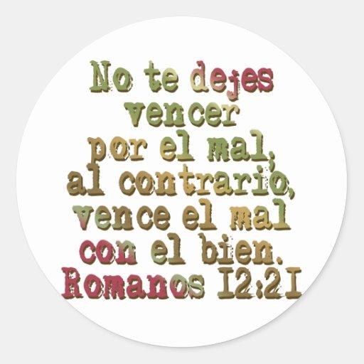 Romanos 12:21 round sticker