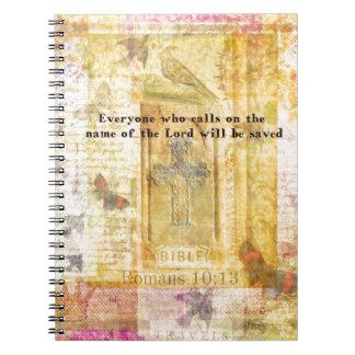 Romans 10:13 Inspirational Bible Verse art Spiral Note Books
