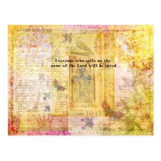 Romans 10:13 Inspirational Bible Verse art Postcard