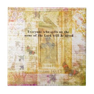 Romans 10:13 Inspirational Bible Verse art Tile