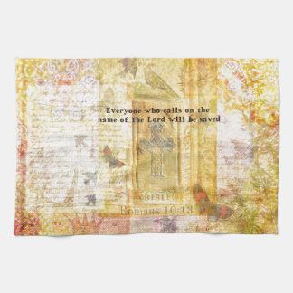 Romans 10:13 Inspirational Bible Verse art Towels