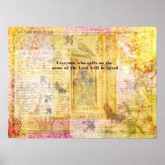 Romans 10:13  Italian Renaissance Cross art Poster