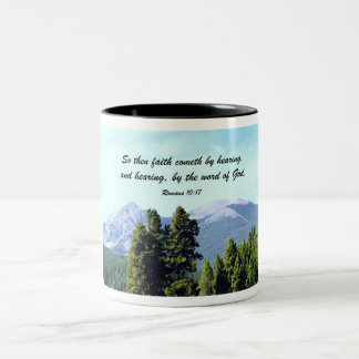 Romans 10:17 Two-Tone coffee mug