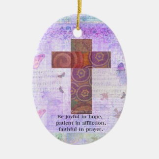 Romans 12:12 - Be joyful in hope, patient BIBLE Double-Sided Oval Ceramic Christmas Ornament