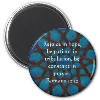 Romans 12:12 Bible Verse about HOPE Fridge Magnet