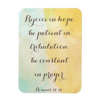 Romans 12:12 Bible Verse Quote Watercolor Magnet