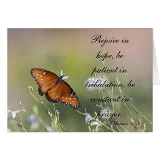 Romans 12:12 butterfly card