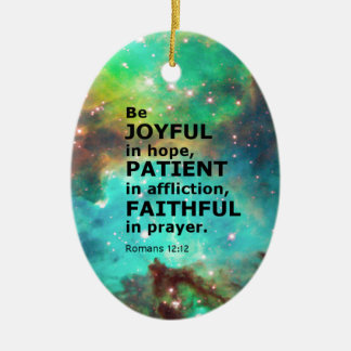 Romans 12:12 Double-Sided oval ceramic christmas ornament