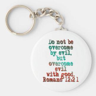 Romans 12:21 basic round button keychain