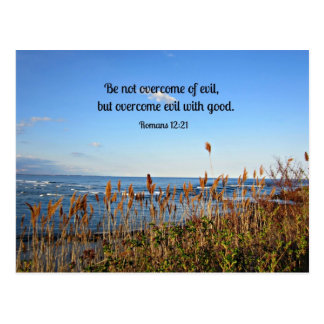 Romans 12:21 Be not overcome of evil... Postcard