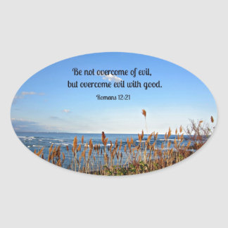 Romans 12:21 Be not overcome of evil... Oval Stickers
