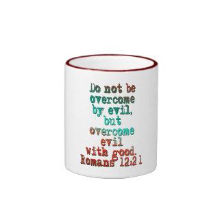 Romans 12:21 ringer coffee mug