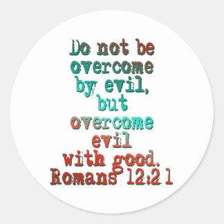 Romans 12:21 classic round sticker