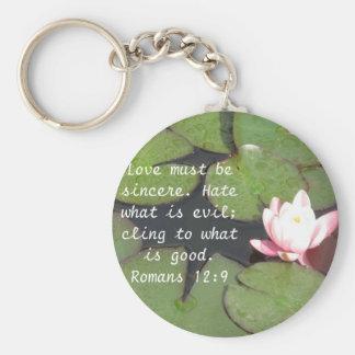 Romans 12:9   inspirational Bible verse Basic Round Button Keychain