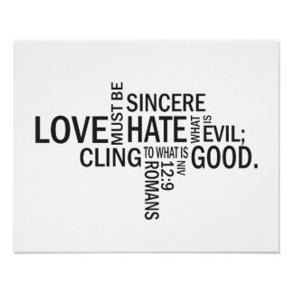 """Romans 12:9 """"Sincere Love"""" Subway Art Poster"""