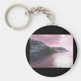 Romans 12:9  Sunrise Basic Round Button Keychain