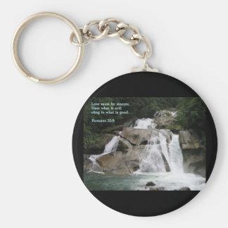 Romans 12:9  Waterfall Basic Round Button Keychain
