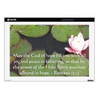 "Romans 15:13  Inspirational Bible Verses Decal For 17"" Laptop"
