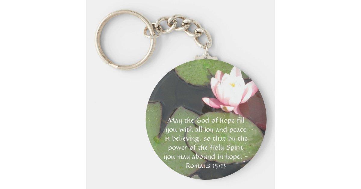 Romans 15:13 Inspirational Bible Verses Keychain | Zazzle.com