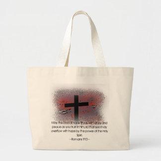Romans 15:13 large tote bag