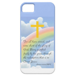 Romans 3:23 Rainbow, Clouds, & Cross iPhone Case iPhone 5 Cover