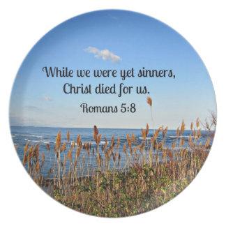 Romans 5:8 melamine plate
