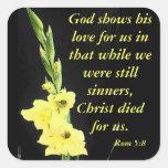 Romans 5:8 square sticker