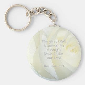 Romans 6:23 Rose Scripture Key Chain