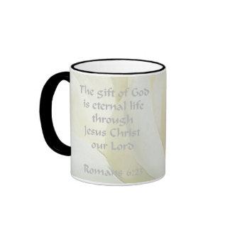 Romans 6:23 Rose Scripture Coffee Mug