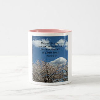 Romans 8:1 There is therefore now no condemnation Two-Tone Coffee Mug