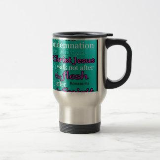 Romans 8:1 travel mug
