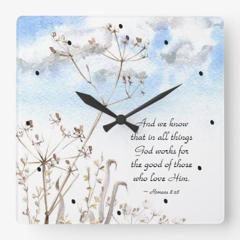 Romans 8:28 All things God works for the good Square Wall Clock