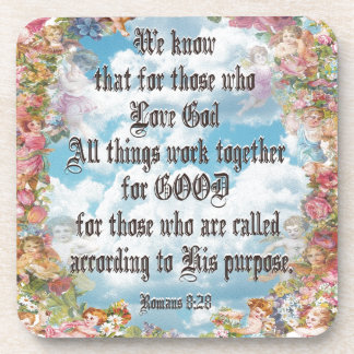 Romans 8 28 - All things good Beverage Coasters