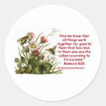 Romans 8:28 Bee Motif Classic Round Sticker