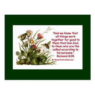 Romans 8:28 Bee Motif Postcard