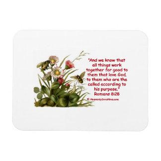 Romans 8:28 Bees Motif Rectangular Photo Magnet