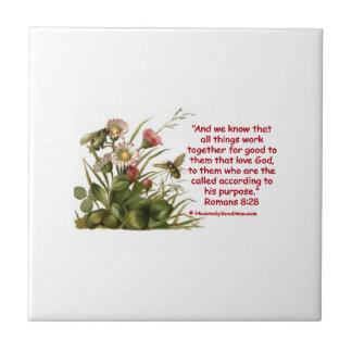 Romans 8:28 Bees Motif Small Square Tile