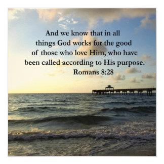 ROMANS 8:28 BIBLE 5.25X5.25 SQUARE PAPER INVITATION CARD