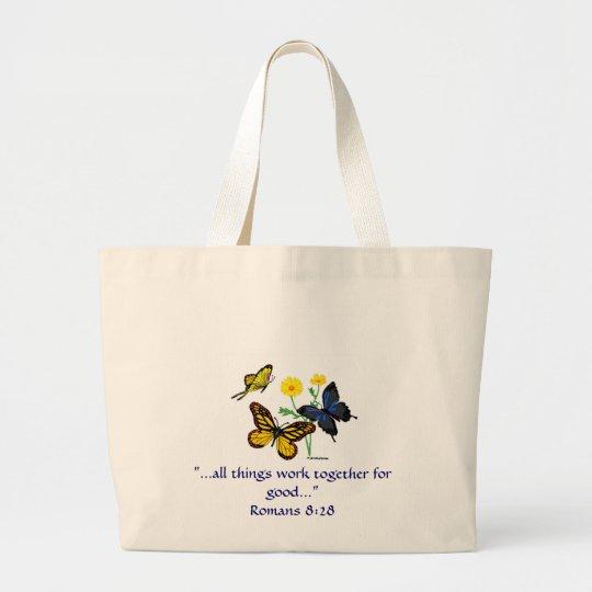 Romans 8:28 Butterflies Large Tote Bag