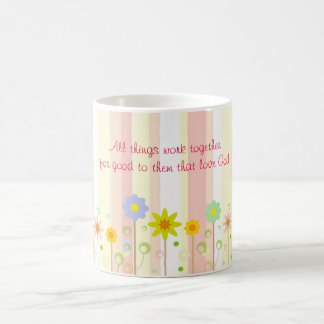 Romans 8:28 Pink Stripe and Flower Christian Quote Coffee Mug