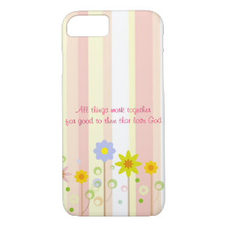 Romans 8:28 Pink Stripe and Flower Christian Quote iPhone 7 Case