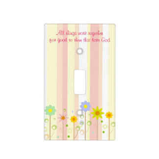 Romans 8:28 Pink Stripe and Flower Christian Quote Light Switch Cover